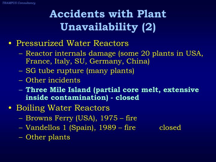 Accidents with Plant Unavailability (2)