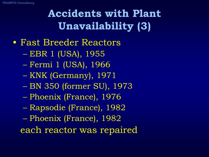 Accidents with Plant Unavailability (3)