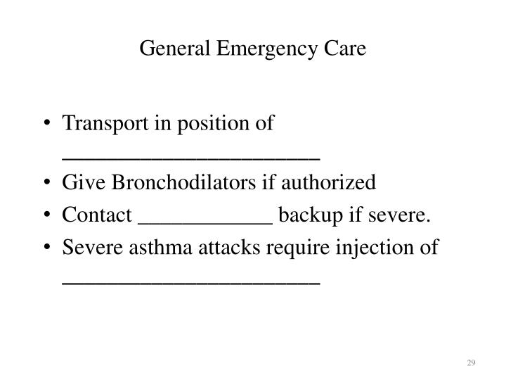 General Emergency Care