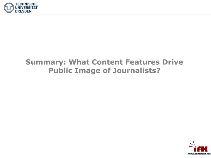 Summary: What Content Features Drive Public Image of Journalists?