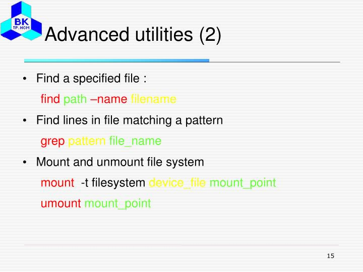 Advanced utilities (2)