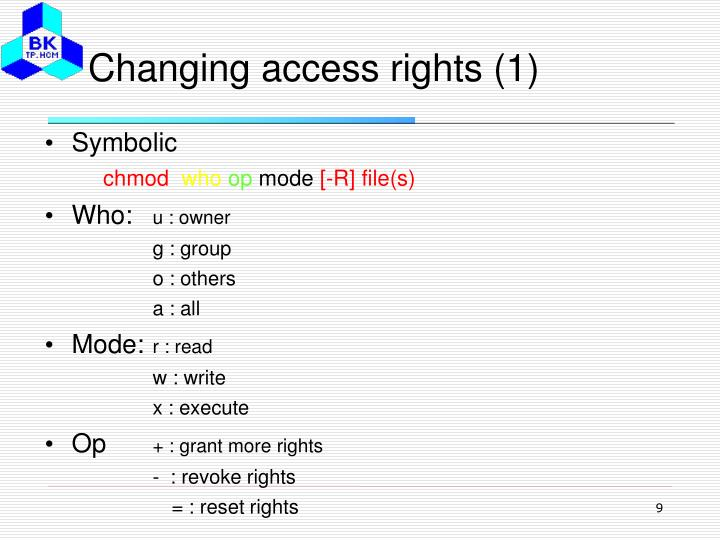 Changing access rights (1)
