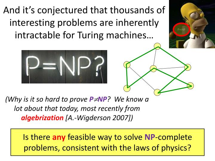 And it's conjectured that thousands of interesting problems are inherently intractable for Turing machines…