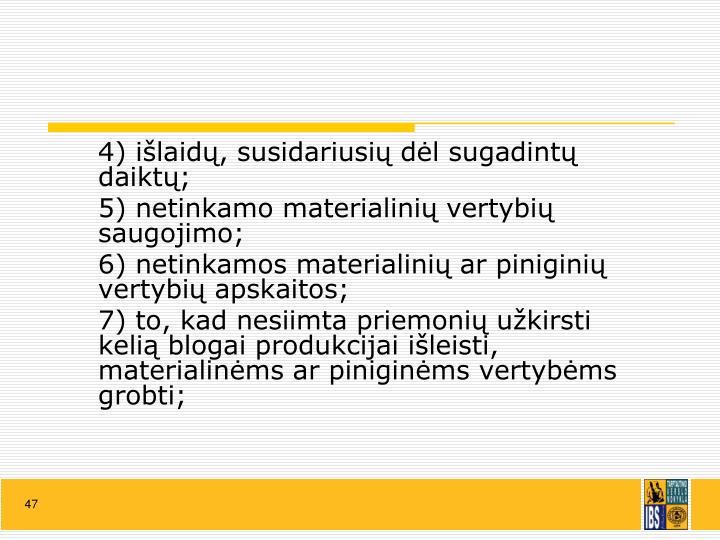 4) išlaidų, susidariusių dėl sugadintų daiktų;