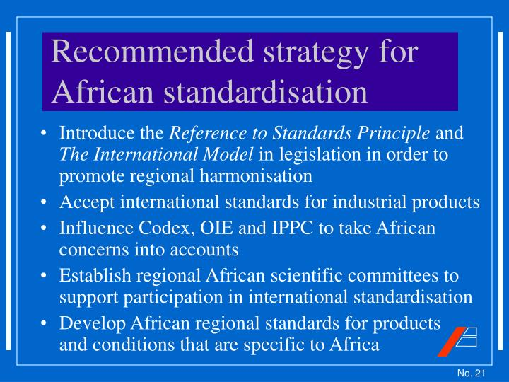 Recommended strategy for African standardisation