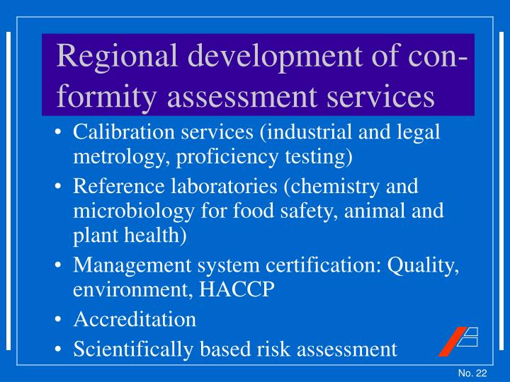Regional development of con-formity assessment services