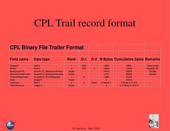 CPL Trail record format