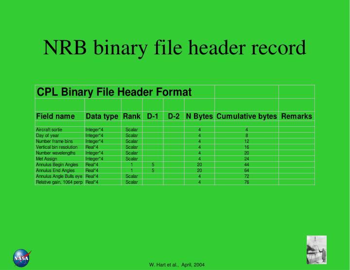NRB binary file header record