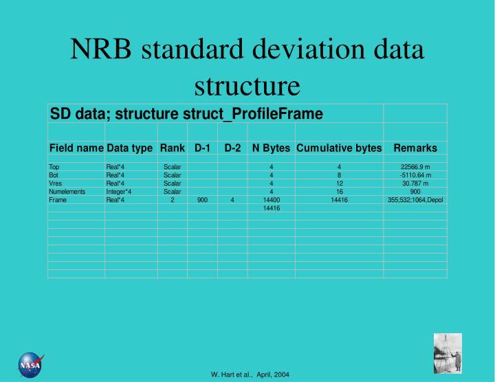 NRB standard deviation data structure