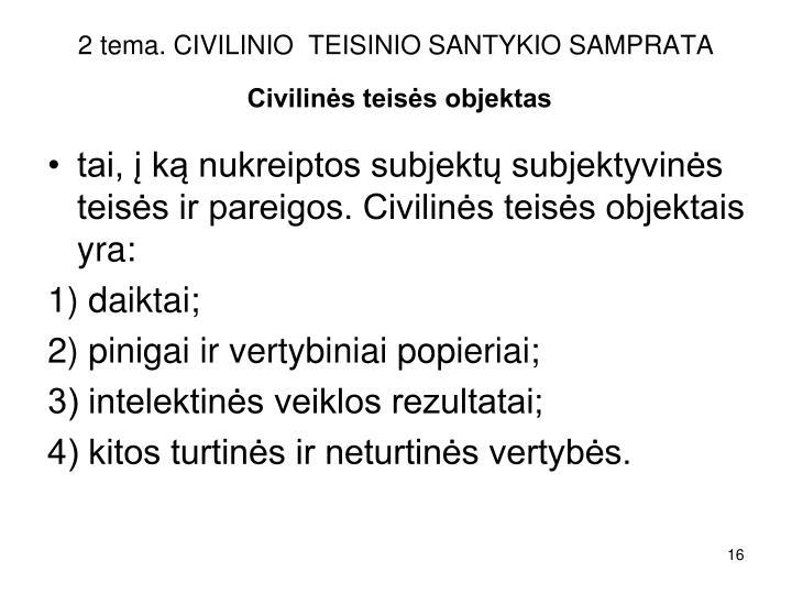 2 tema. CIVILINIO  TEISINIO SANTYKIO SAMPRATA