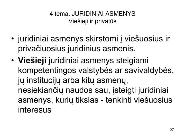 4 tema. JURIDINIAI ASMENYS
