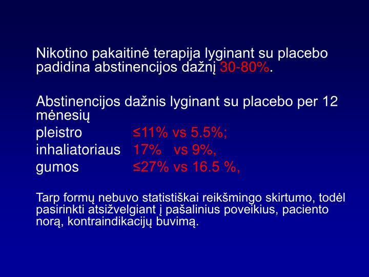 Nikotino pakaitinė terapija lyginant su placebo padidina abstinencijos dažnį