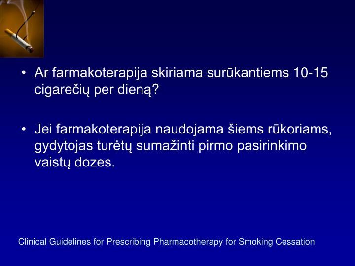 Ar farmakoterapija skiriama surūkantiems