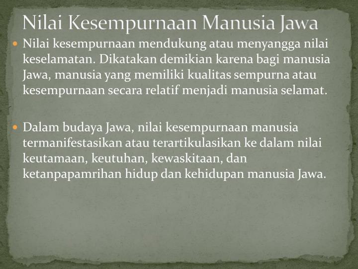 Nilai Kesempurnaan Manusia Jawa
