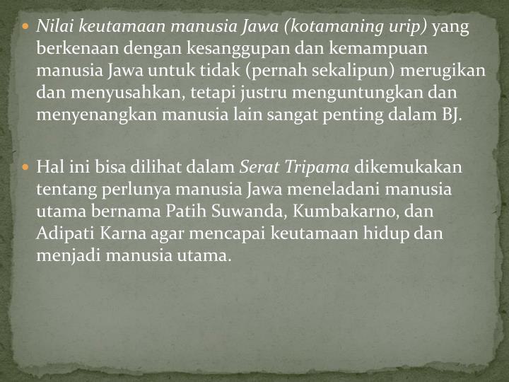 Nilai keutamaan manusia Jawa (kotamaning urip)