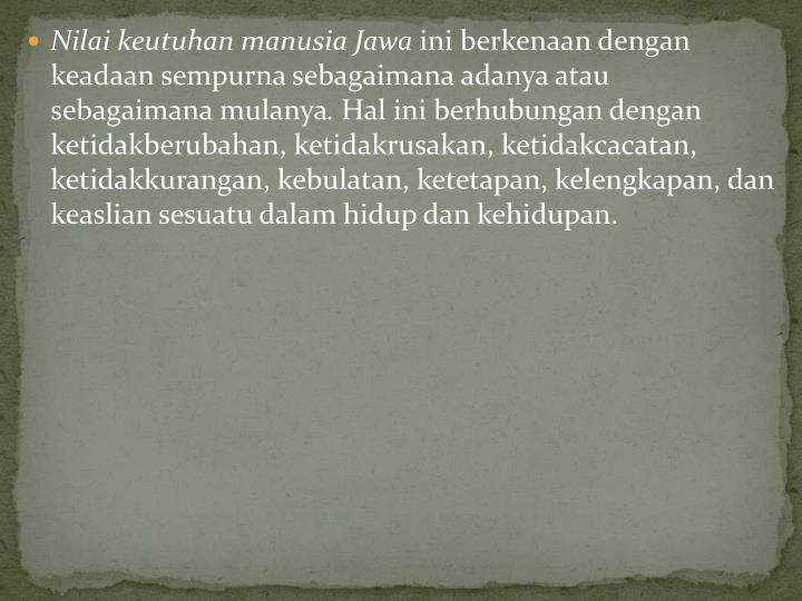 Nilai keutuhan manusia Jawa