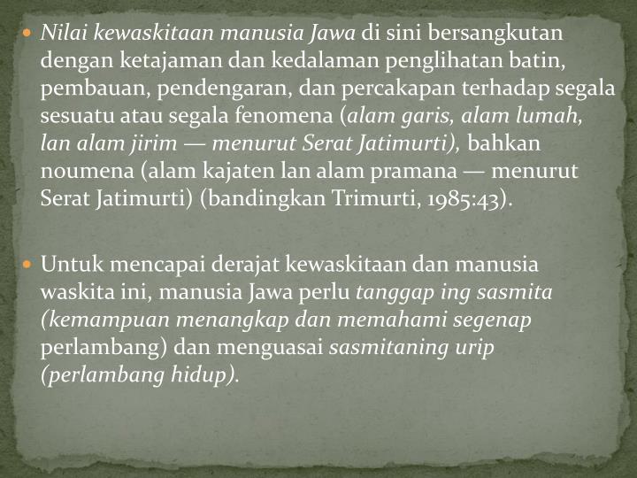 Nilai kewaskitaan manusia Jawa