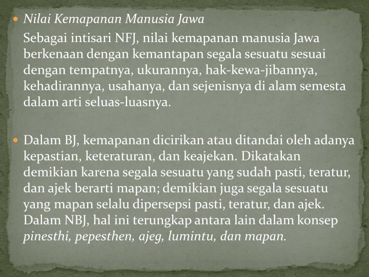 Nilai Kemapanan Manusia Jawa
