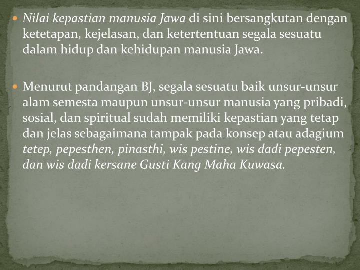 Nilai kepastian manusia Jawa