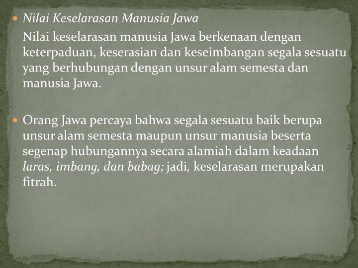 Nilai Keselarasan Manusia Jawa
