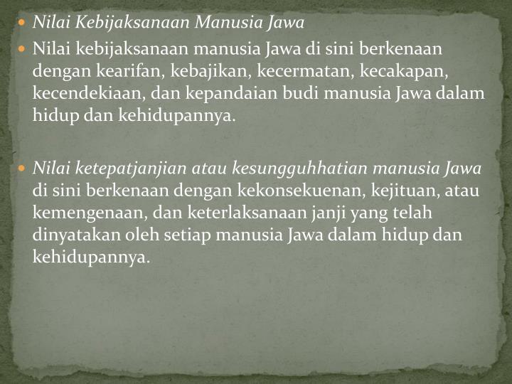 Nilai Kebijaksanaan Manusia Jawa