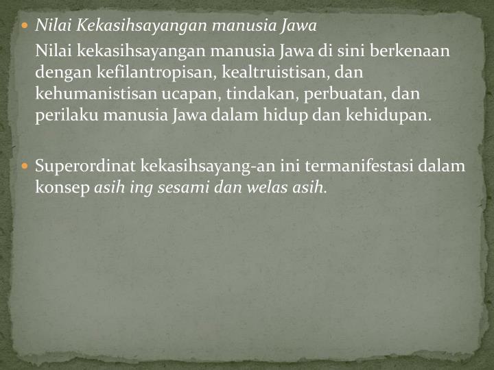Nilai Kekasihsayangan manusia Jawa