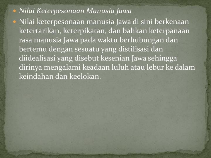 Nilai Keterpesonaan Manusia Jawa