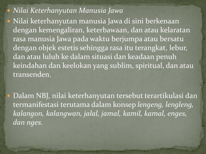 Nilai Keterhanyutan Manusia Jawa