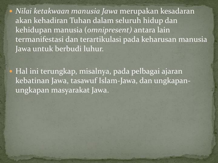 Nilai ketakwaan manusia Jawa
