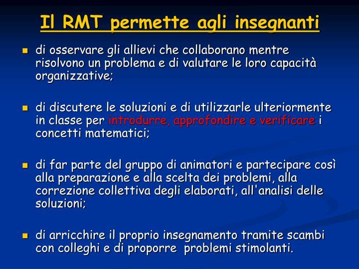 Il RMT permette agli insegnanti