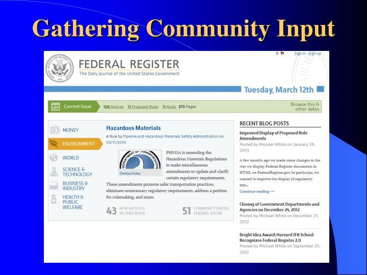 Gathering Community Input
