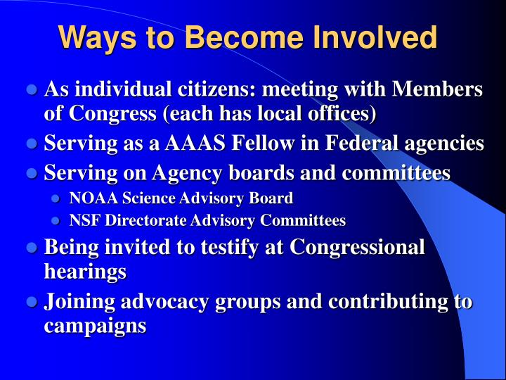 Ways to Become Involved