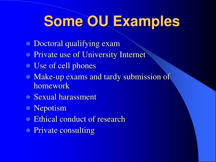 Some OU Examples