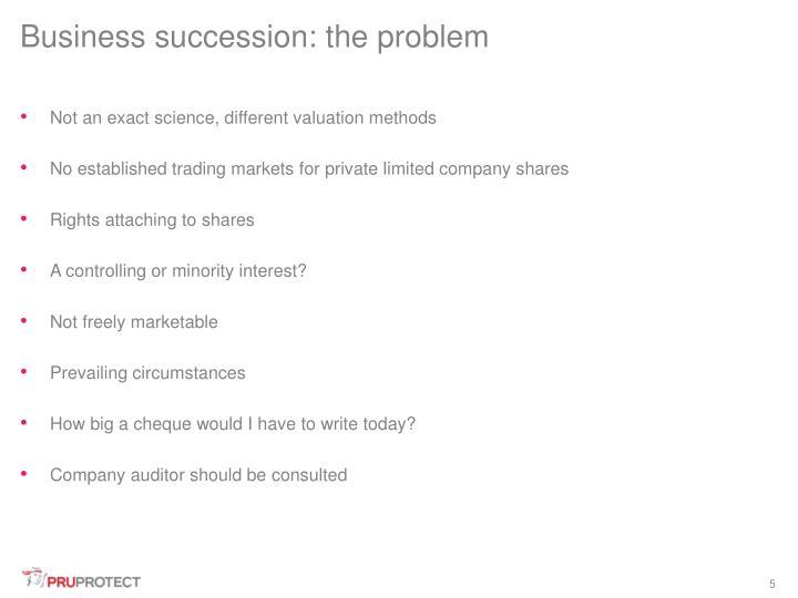 Business succession: the problem