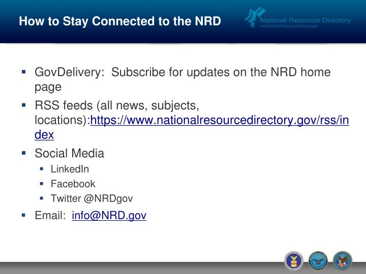 How to Stay Connected to the NRD