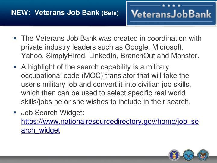 NEW:  Veterans Job Bank