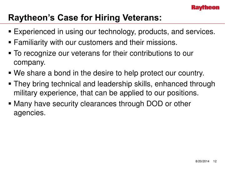 Raytheon's Case for Hiring Veterans:
