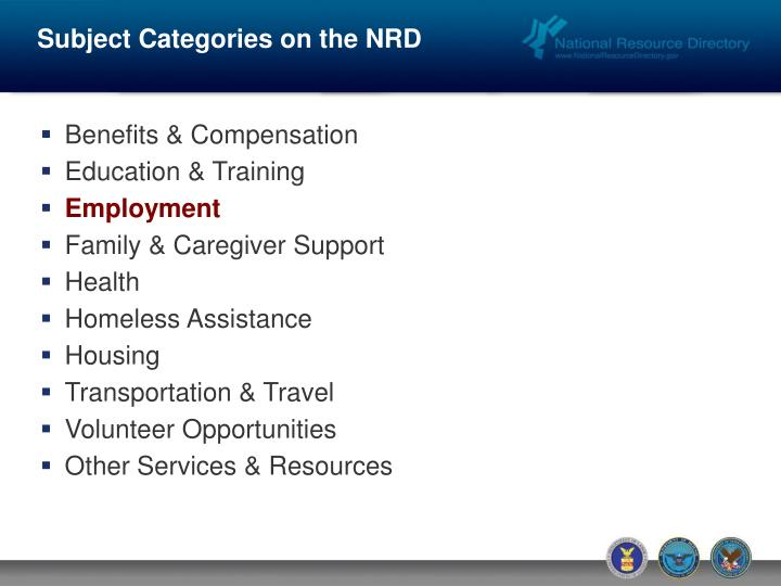 Subject Categories on the NRD