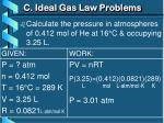 c ideal gas law problems