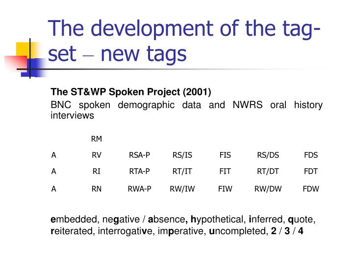 The development of the tag-set