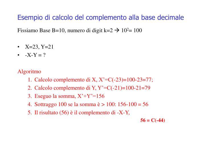 Esempio di calcolo del complemento alla base decimale