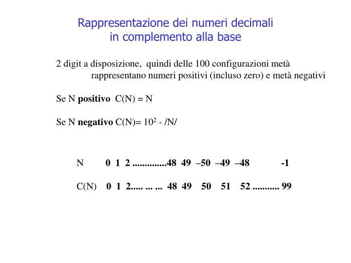 Rappresentazione dei numeri decimali