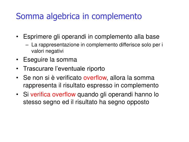 Somma algebrica in complemento