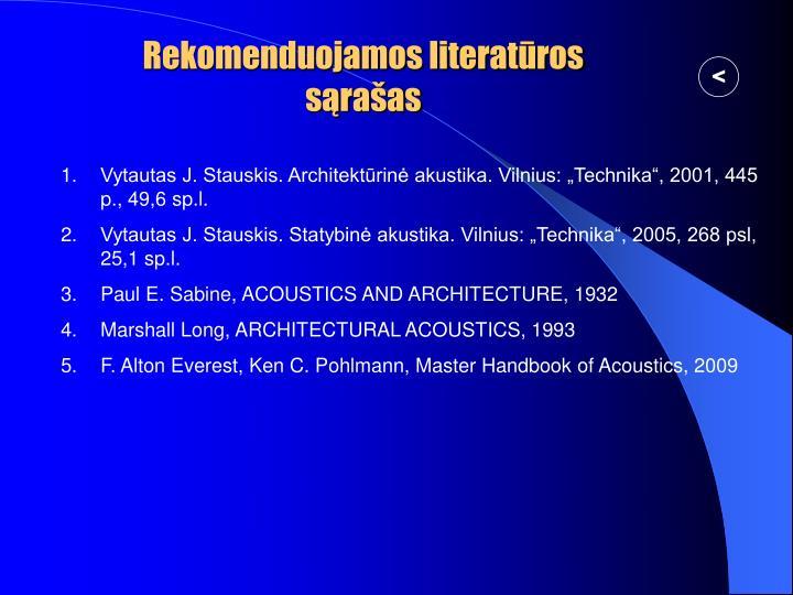 Rekomenduojamos literatūros sąrašas