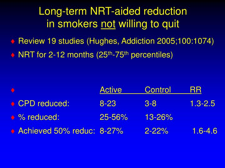 Long-term NRT-aided reduction