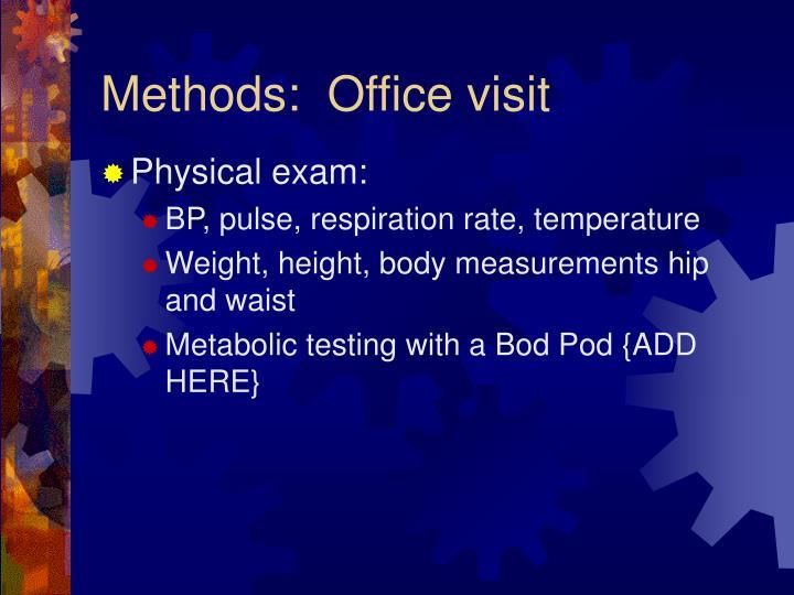 Methods:  Office visit