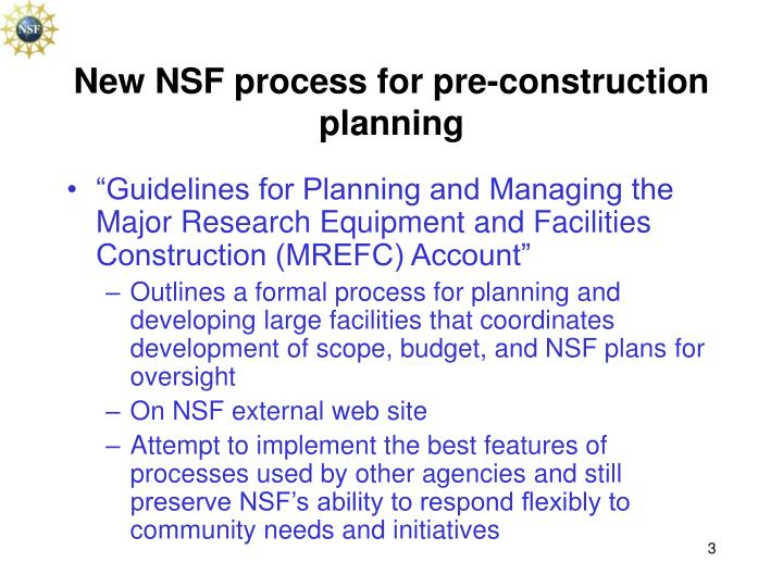 New NSF process for pre-construction planning