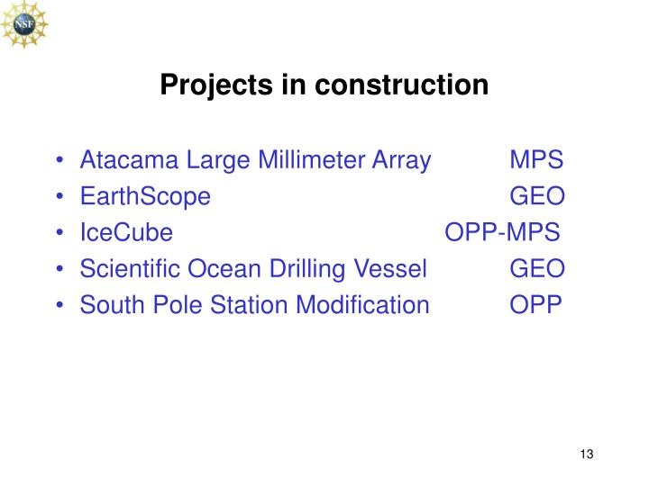Projects in construction
