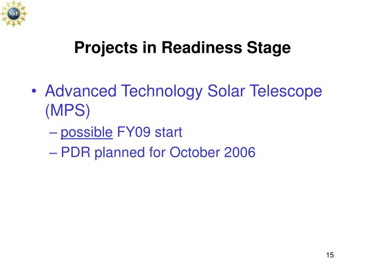 Projects in Readiness Stage