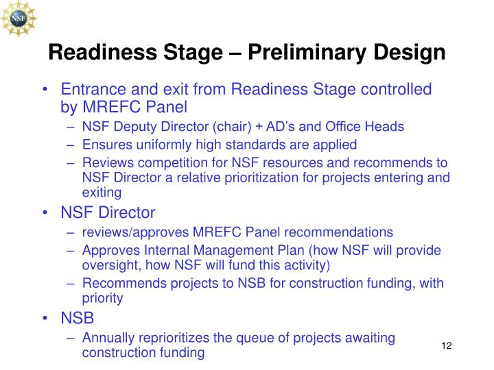 Readiness Stage – Preliminary Design
